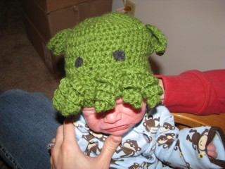 Newborn nephew Will sporting one of my ultra cool new baby Cthulhu Toques!