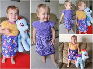 Lila modeling her Sew Sweet Crochet Fabric Toddler Dresses