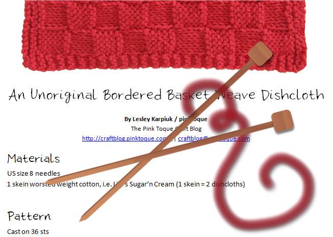 Download my Unoriginal Bordered Basket Weave Dishcloth Pattern FREE!