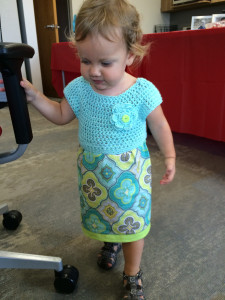 Lila wearing her first Sew Sweet Crochet Fabric Toddler Dress by me!