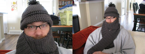 Lucas modeling his matching toque and scarf set