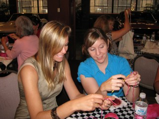 Me teaching the GG Founder and CEO, Rachel Doyle, how to crochet!