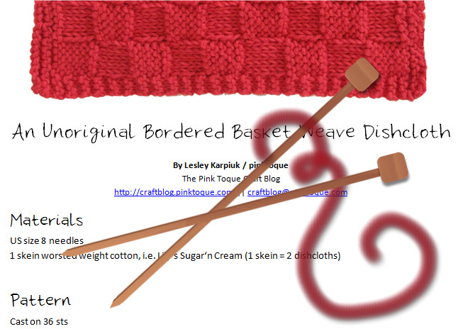 Download my Unoriginal Bordered Basket Weave Dishcloth Pattern FREE!